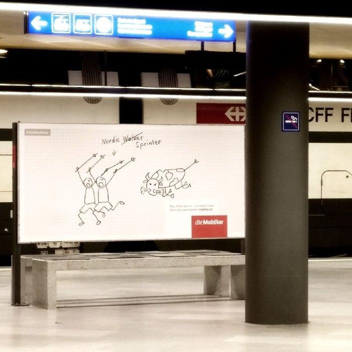 Три слова о рекламе в Цюрихе Юмор, Креативная реклама, Швейцария, Цюрих, Лингвистика, Длиннопост