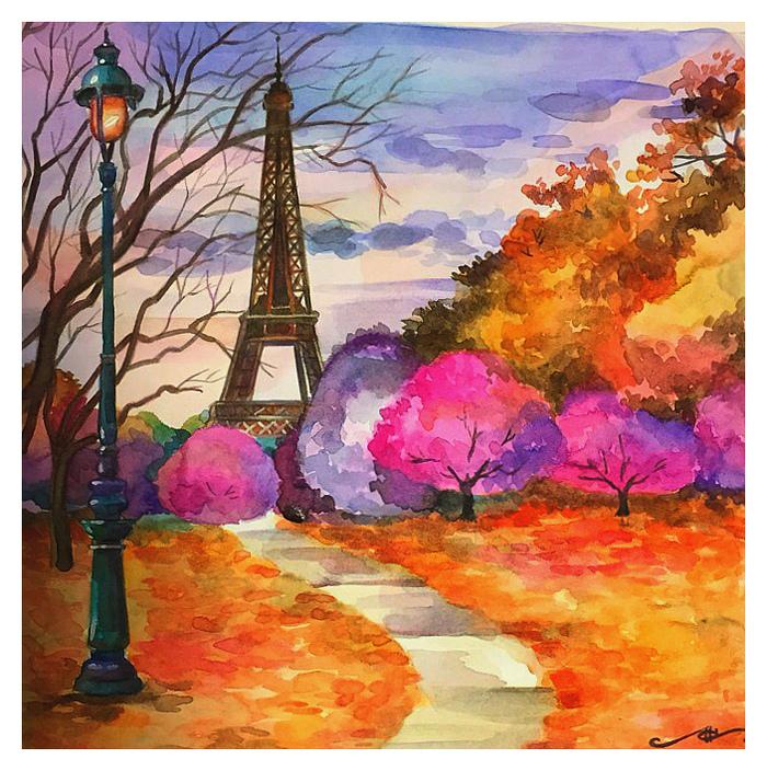 Еще один осенний пейзаж) (Акварель) Творчество, Пейзаж, Рисунок, Акварель, Осень, Okta23, Длиннопост, Эйфелева башня, Париж