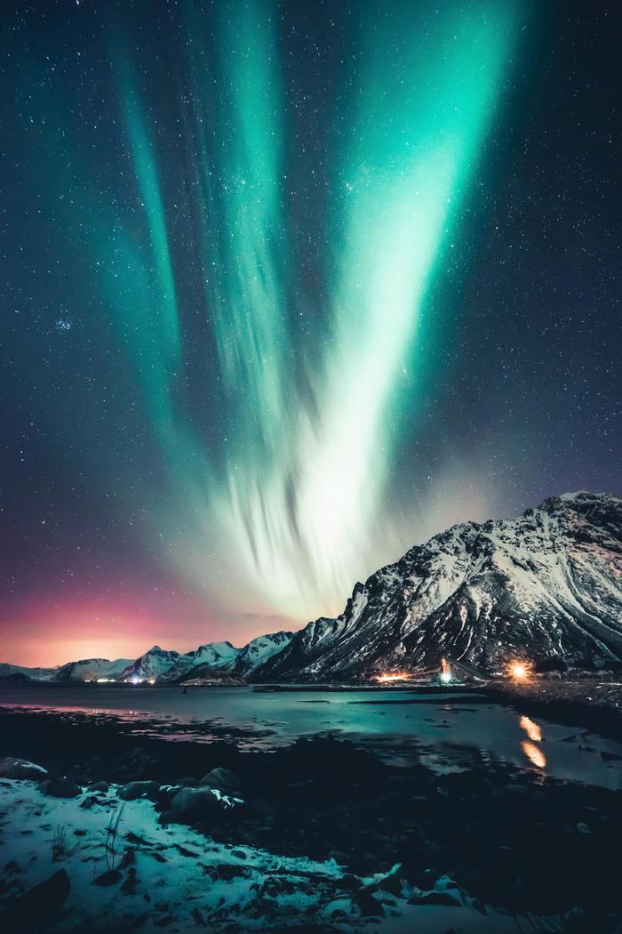 Северное сияние над Лофотенскими островами, Норвегия
