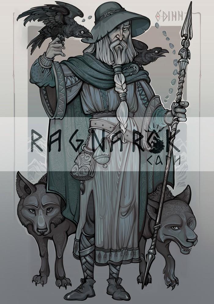 Боги Асгарда и не только Скандинавская мифология, Один, Тор, Локи, Хель, Фрейя, Арт, Olga Levina, Длиннопост