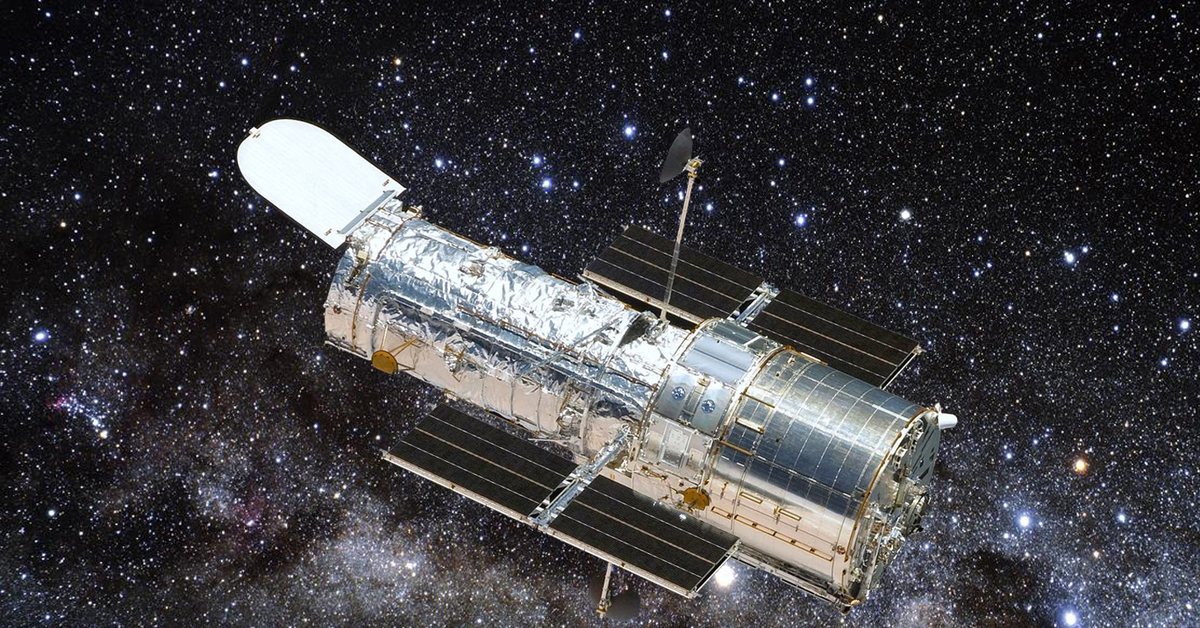 The Hubble Space Telescope in orbit as seen from the departing Space Shuttle Atlantis flying Servicing Mission 4 the fifth and final Hubble mission
