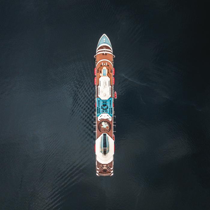 Норвегия, круизный лайнер в фьорде Geiranger Фотография, Путешествия, Квадрокоптер, Норвегия, Корабль, Скандинавия