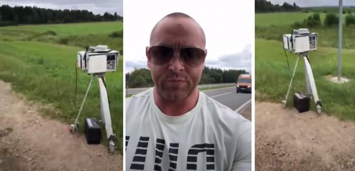 Автомобилист забрал дорожную камеру, которая незаконно, по его мнению,  снимала проезжающие авто, и доставил её в полицию Камера, В полицию, Видеофиксация, Видео