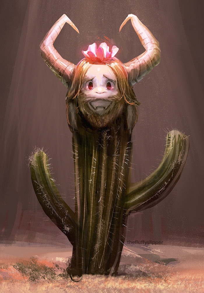 Asgore… as a cactus. Undertale, Игры, Арт, Asgore, Кактус