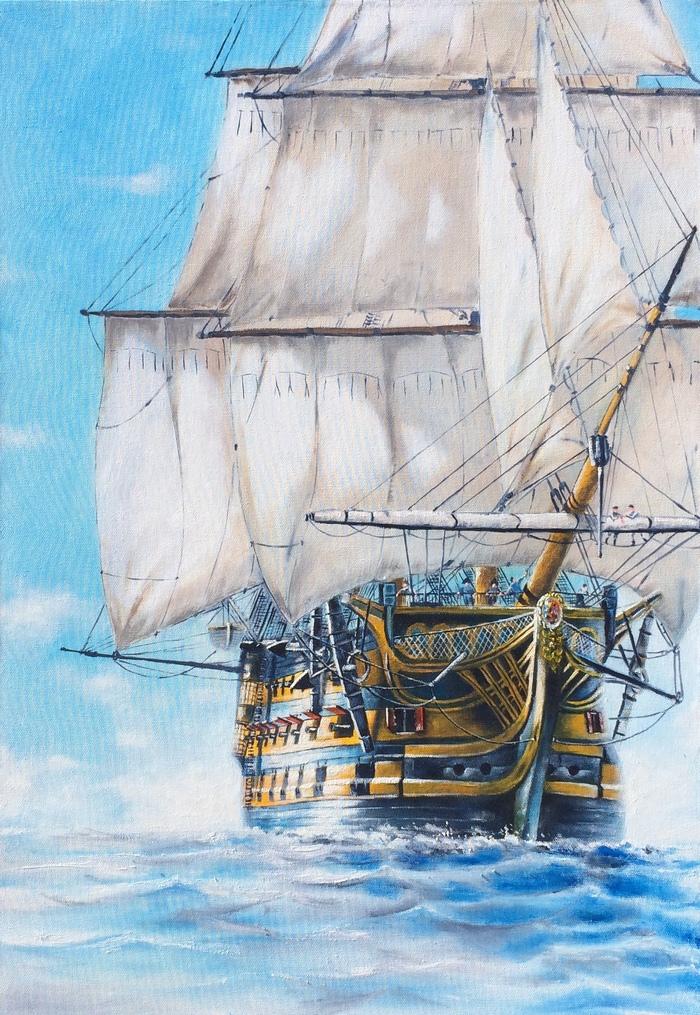 """""""Корабль в море"""" масло, холст 90/60 см Картина, Картина маслом, Корабль, Видео"""