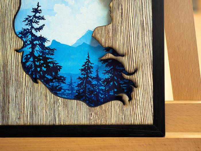 "И моё ""пятничное моё"". Дерево, Рисунок, Краски, Рама, Силуэт, Длиннопост"