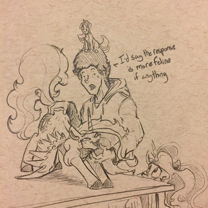 В мире пони если у тебя есть руки - тебя попросят почесать My Little Pony, Princess Luna, Princess Celestia, Twilight Sparkle, Человек