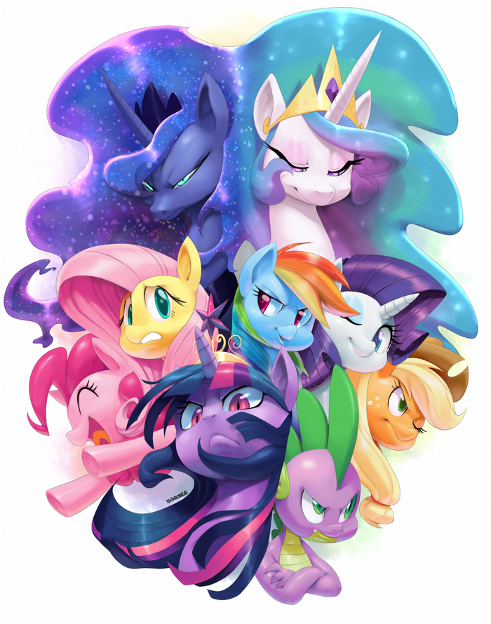 My Little Pony My Little Pony, Princess Luna, Princess Celestia, Mane 6, Spike, PonyArt