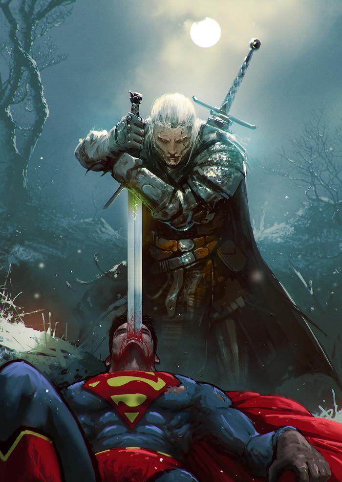 Witcher vs Superman Супермен, Ведьмак, Геральт из Ривии, Арт