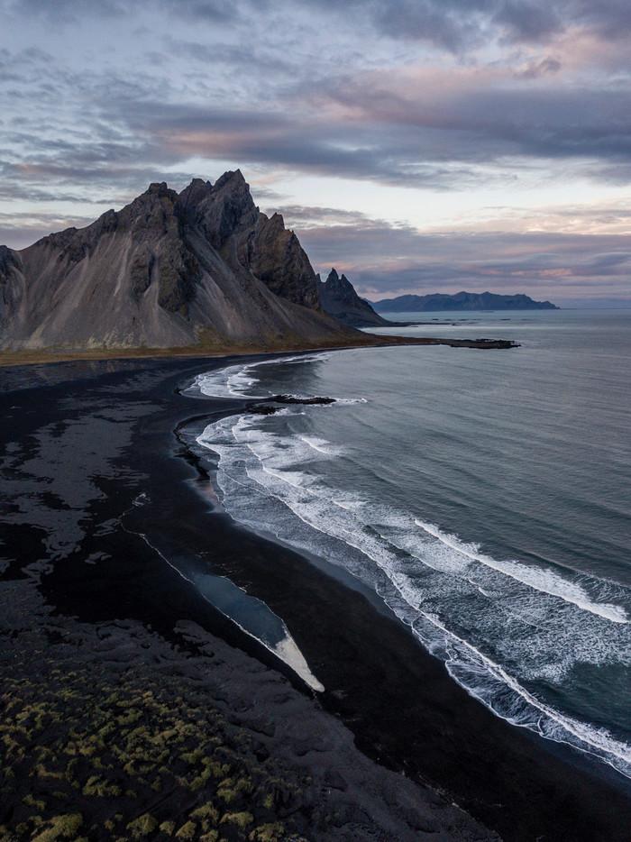 Исландия, мыс Stokksnes Исландия, Фотография, Путешествия, Квадрокоптер, Дрон, Скандинавия, Пляж