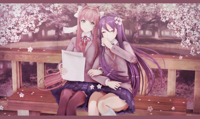 My cherry blossom Doki doki literature Club, Yuri ddlc, Monika, Anime Art, Визуальная новелла