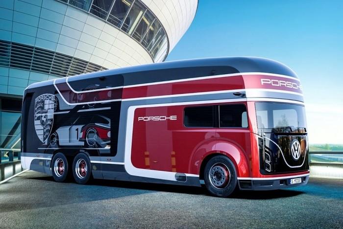 Автобус для Porsche: российский дизайнер показал видение транспортера для легендарных спорткаров Volkswagen, Porsche, Автобус, Интересное, Длиннопост