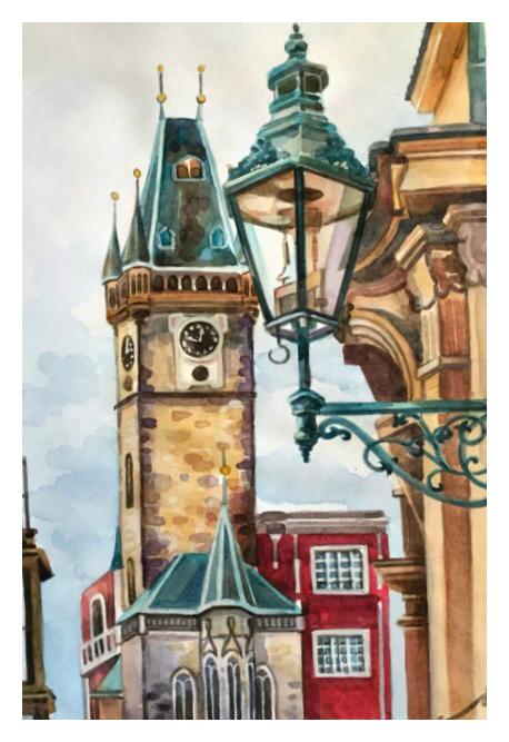 Прекрасная Чехия (Акварель) Творчество, Рисунок, Акварель, Городские пейзажи, Чехия, Прага, Okta23, Длиннопост