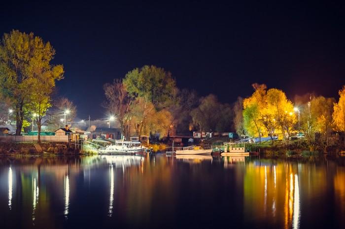 Ночная осенняя набережная Осень, Пинск, Беларусь, Ночь, Река, Фотография, Природа, Пейзаж