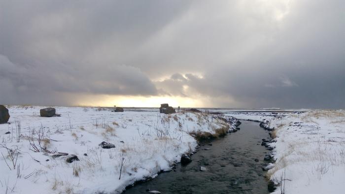 Немножко исландского неба Исландия, Зима, Длиннопост, Снег, Небо, Река, Берег, Фотография