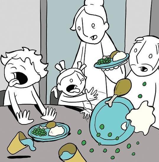 Завтрак с детьми Комиксы, Lunarbaboon, Завтрак, Дети