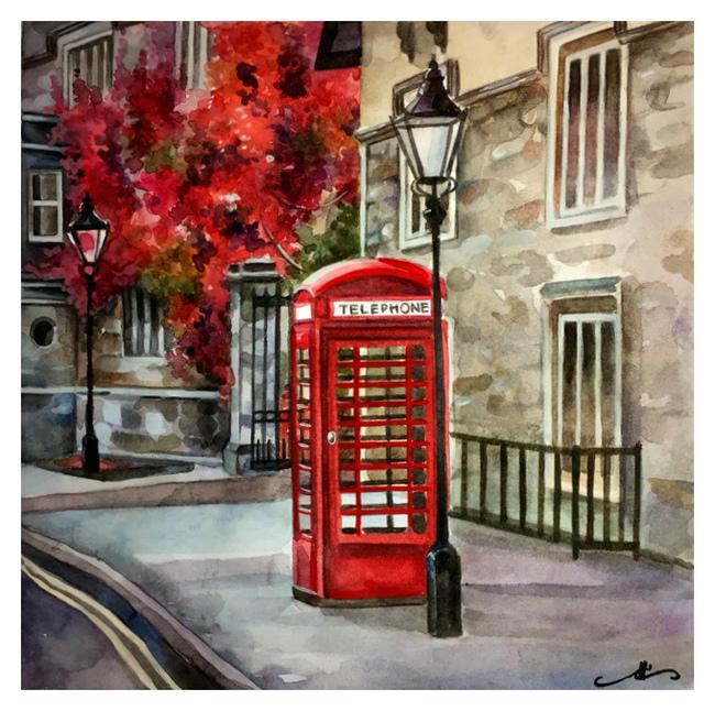 Моя любимая красная телефонная будка) (Акварель) Рисунок, Творчество, Городские пейзажи, Осень, Акварель, Англия, Телефонная будка, Okta23, Длиннопост