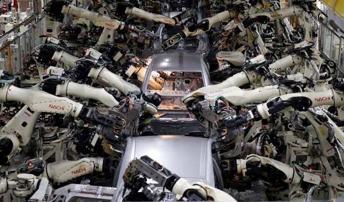 Роботы Япония, Робот, Сборочная линия, Завод, Toyota, Prius, Авто