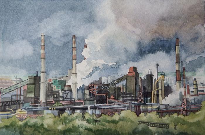 Индустриальный пейзаж Акварель, Пейзаж, Завод, Кемерово, Рисунок, Город, Городские пейзажи
