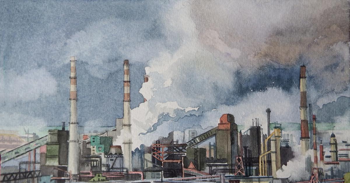 индустриальный пейзаж картинки художников праздник новый