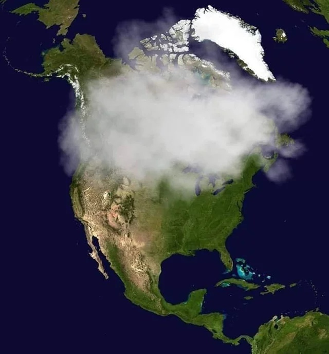 Последний снимок Канады со спутника.