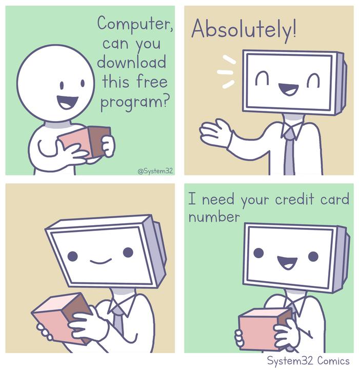 Бесплатный софт Комиксы, Картинки, Компьютер, System32