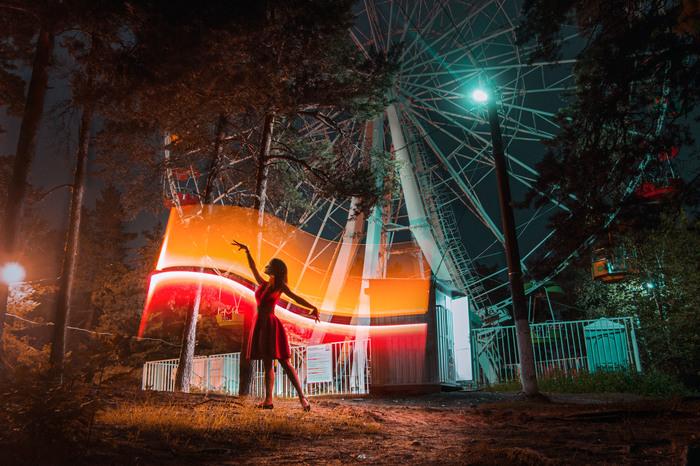 Танцы со светом Фризлайт, Модели, Фотограф, Колесо обозрения, Парк