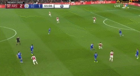 Потрясающий гол Арсенала в матче с Лестером Спорт, Футбол, АПЛ, Арсенал Лондон, Комбинация, Гифка, Обамеянг