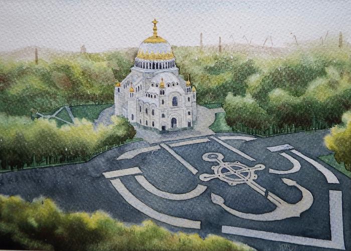 Морской собор в Кронштадте Акварель, Пейзаж, Городские пейзажи, Кронштадт, Якорная площадь, Морской собор, Рисунок, Собор