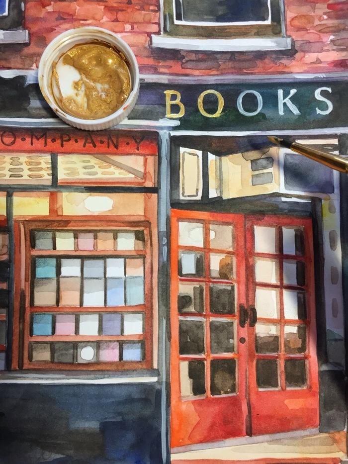 Книжный магазин (Акварель) Творчество, Рисунок, Акварель, Книжный магазин, Городские пейзажи, Okta23, Длиннопост, Магазин, Витрина
