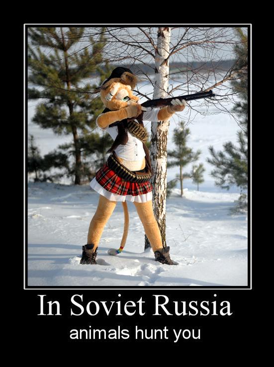 В России животные охотятся на тебя Фурри, Косплей, Охота, Зима, Мемы, Фурсьют, Belo4ka, Демотиватор