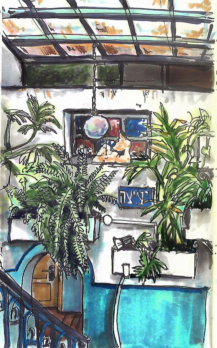 Рисунки из хостела в Яффо Рисунок, Хостел, Крыша, Яффо, Израиль, Длиннопост, Интерьер