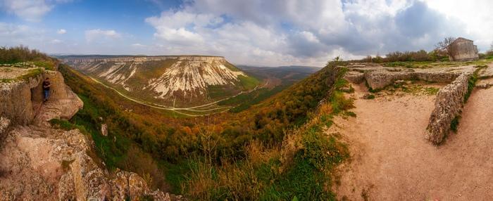 Просто красивый осенний Бахчисарай и его окрестности. Крым, Бахчисарай, Панорама, Осень, Горы, Чуфут-Кале, Длиннопост