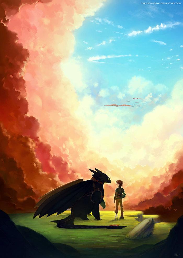 Beyond The Clouds Арт, Как приручить дракона, Беззубик, Иккинг, Дракон, Облака