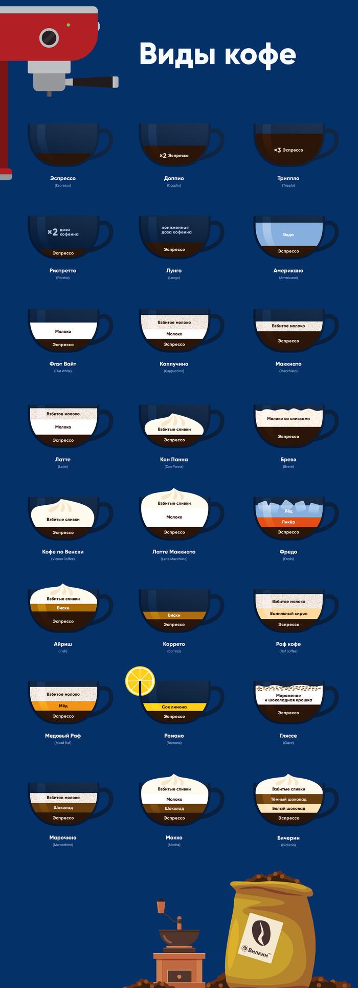 Виды кофе и кофейных напитков Инфографика, Кофе, Длиннопост