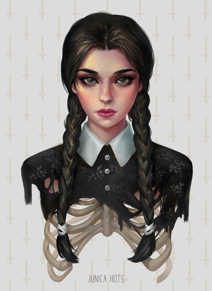 Венсдей Портрет, Девушки, Рисунок, Фан-Арт, Цифровой рисунок, Семейка Адамс, Wednesday Addams
