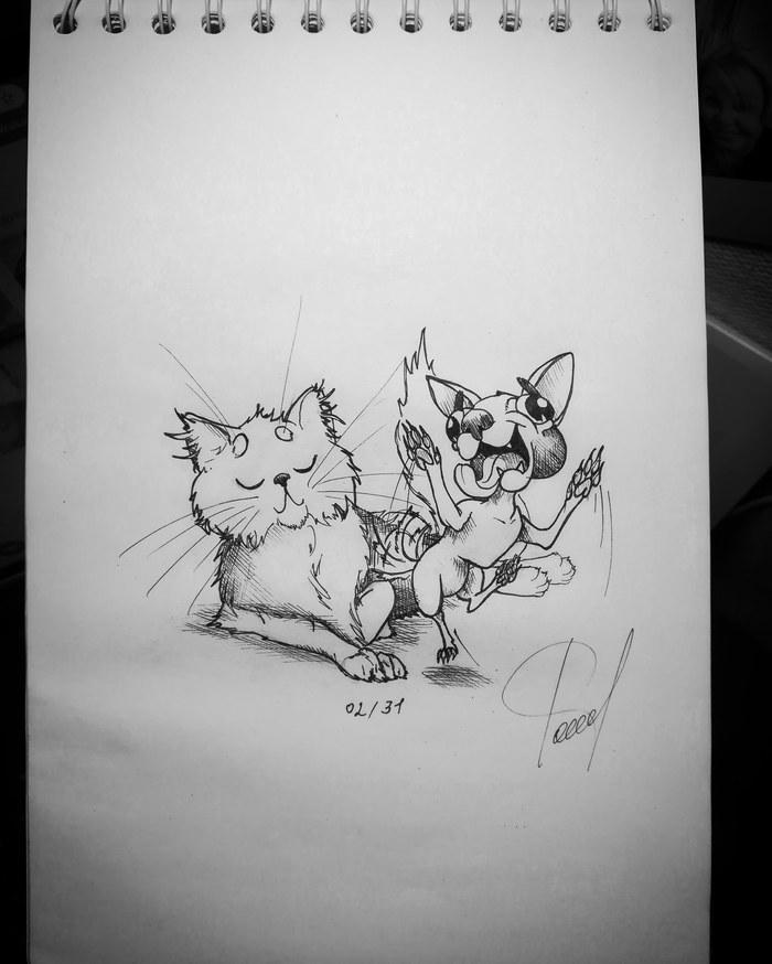 ИнКОТобер. Возвращение котов. Часть 1. Inktober, Инкотобер, Рисунок, Кот, Я в плену у котов, Длиннопост, Животные, Мультяшный стиль