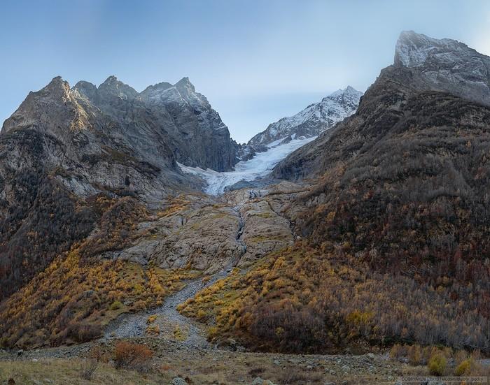 Один из безымянных ледников ущелья Домбай-Ульген, Карачаево-Черкесия. Пейзаж, Nikon, Карачаево-Черкесия, Ледник, Горы