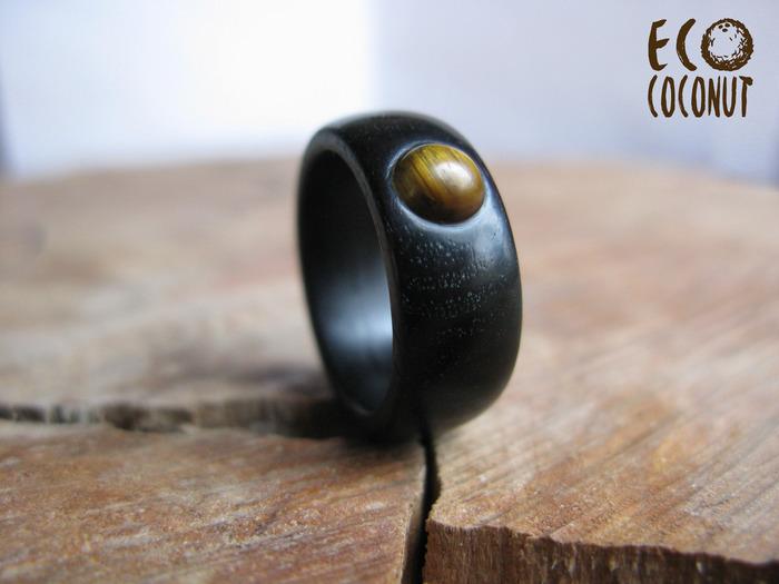 Кольцо из дерева с тигровым глазом Кольцо из дерева, Кольцо с тигровым глазом, Черное кольцо, Деревянные украшения, Длиннопост