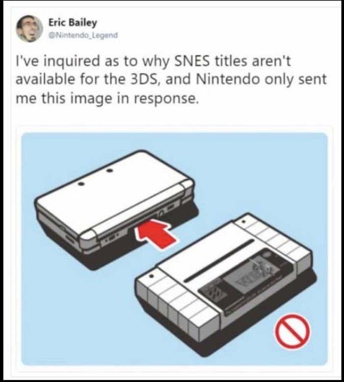 И ведь не поспоришь SNES, Nintendo 3Ds, Nintendo, Приставки, Компьютерные игры, Не поспоришь, Twitter, Несовместимость
