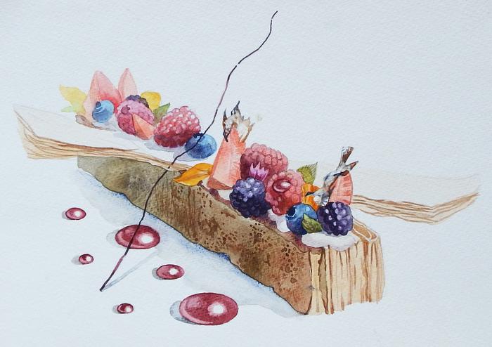 Пирожные Арт, Рисунок, Акварель, Пирожное, Первый длиннопост, Длиннопост, Сладости, Еда