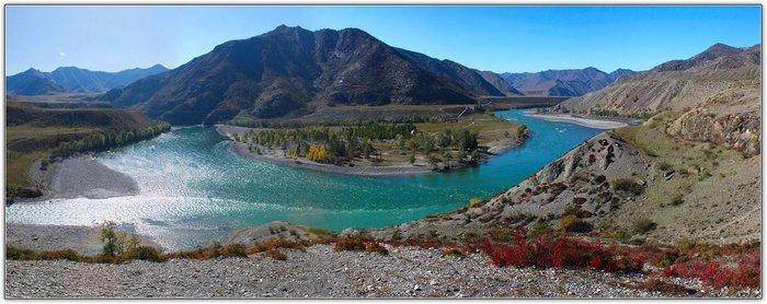 Слияние рек Катунь и Чуя Алтай, Катунь, Чуя, Фотография