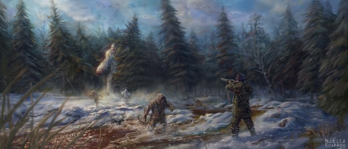 Кто охотник? Охотник, Монстр, Существа, Лес, Рисунок, Цифровой рисунок