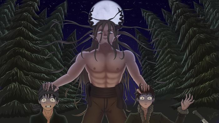 Рогатый Арт, Иллюстрации, SAI, Рисунок, Демон, Ангел-Хранитель