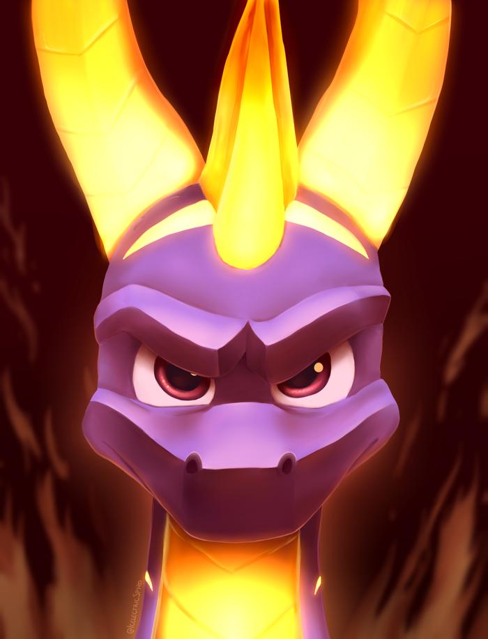Flame On! Арт, Игры, Spyro, Дракон, Портрет, Компьютерные игры