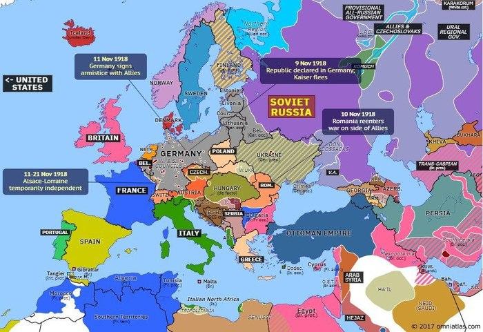Европа 13 ноября 1918 г. Карты, История, География, Европа