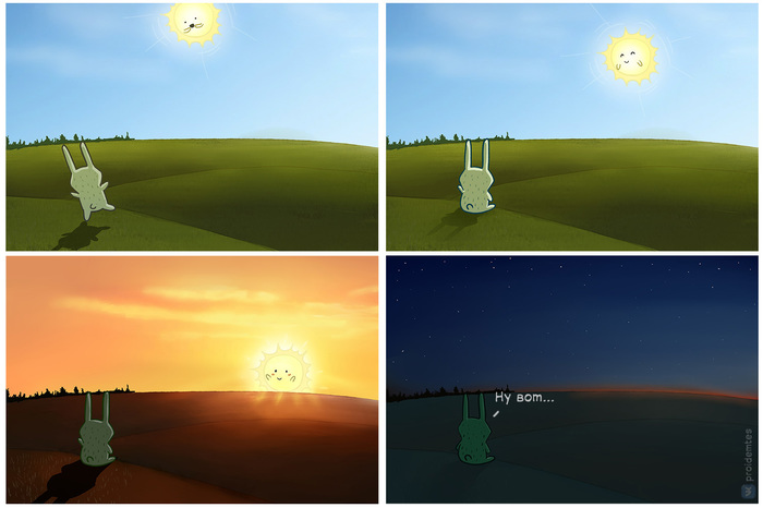 Дни становятся короче Proidemtes, Ноябрь, Закат, Комиксы, Солнце