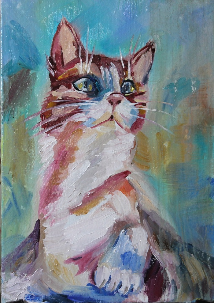 Милый котик Мурлыка - написала картину для детской комнаты SpiceArtRU, Для маленькой принцессы, Картина маслом, Кот, Длиннопост