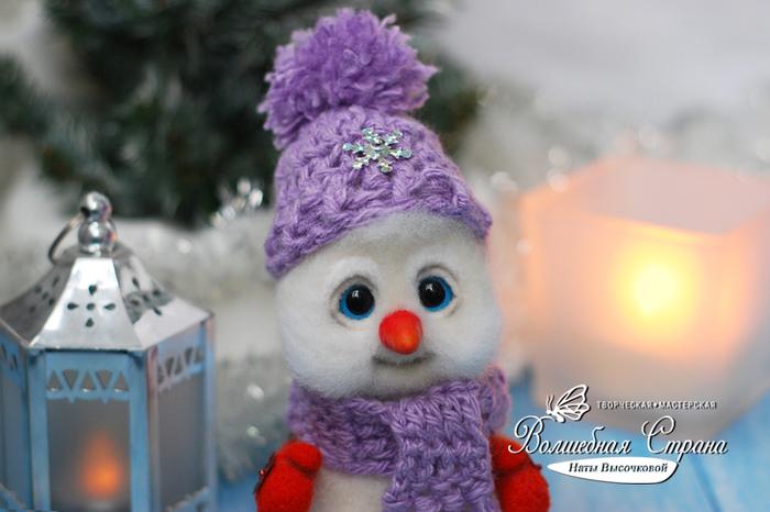 Снеговик Флаффи (сухое валяние). Ручная работа, Длиннопост, Handmade, Новый Год, Рукоделие без процесса, Своими руками, Сухое валяние