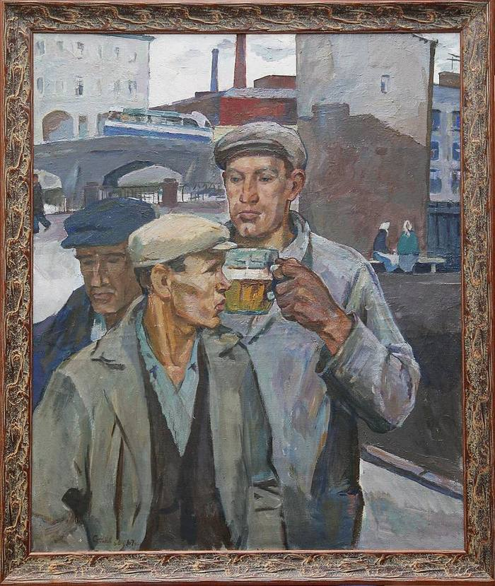 Столбов А. С. «Пьют пиво». 1967 год. Пиво, СССР, Картина, Соцреализм